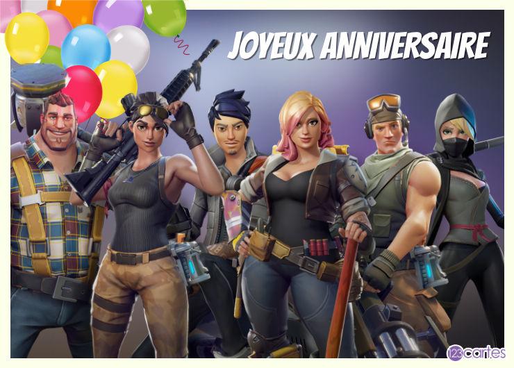 fortnite équipe de choc carte virtuelle joyeux anniversaire