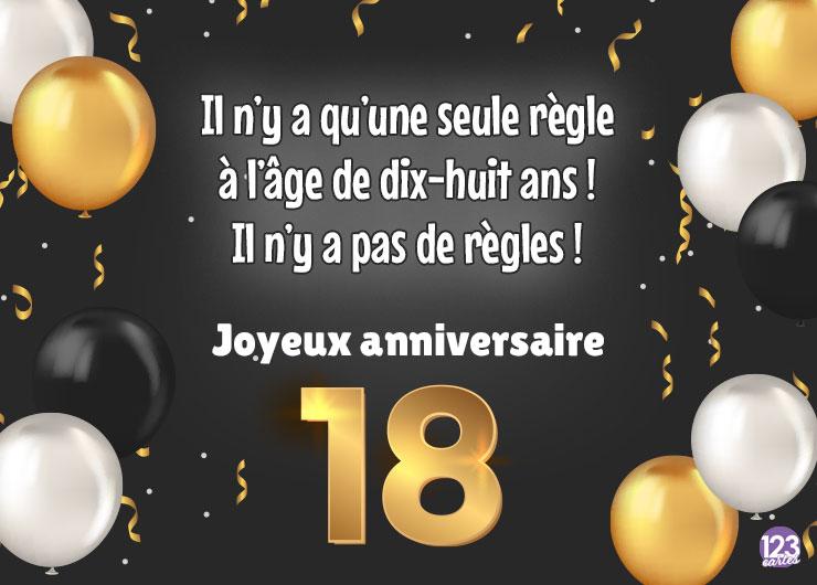 ballons de couleur or, blanc et noir, confettis or, le chiffre dix-huit ans en or