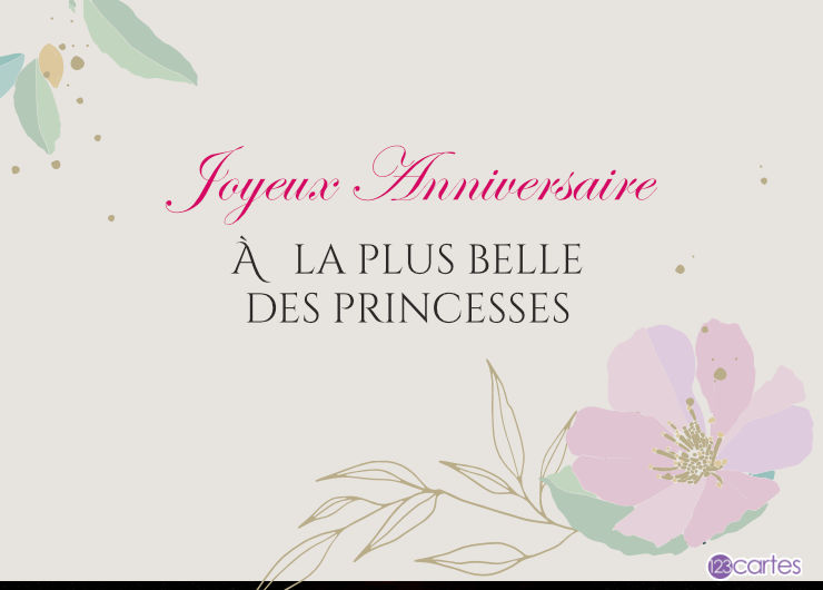 dessin d'une fleur rose avec un joli texte pour souhaiter joyeux anniversaire à une princesse