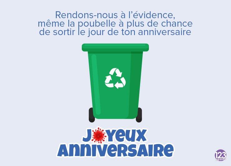 dessin poubelle avec texte drôle pour souhaiter joyeux anniversaire covid, confinement
