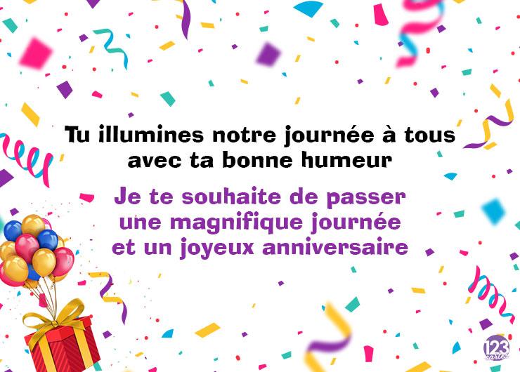 confettis multicolores et texte pour souhaiter un joyeux anniversaire à un collègue de travail